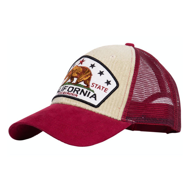 King Kerosin California Cord trucker cap beige/red