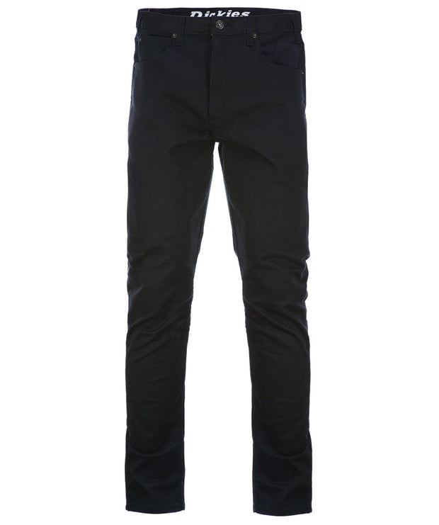 Black Dickies workwear trousers.
