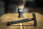 Our black double edged razor available to buy on its own or with a complete shave set.