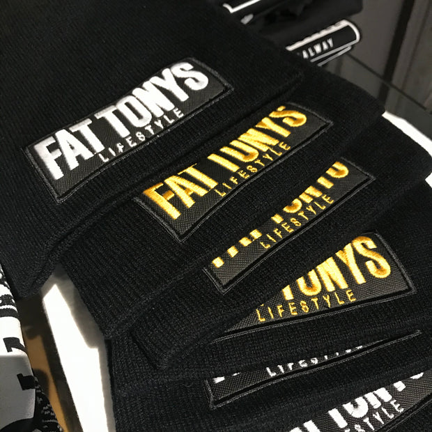 Fat Tony's BLACK Beanie / Gold Stitch