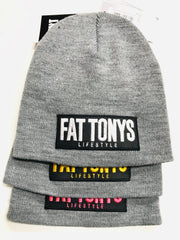 Grey Beanie hats by Fat Tony. We have 3 different patch styles with either yellow, white or pink stitching.