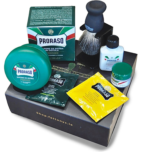 Shave set with all the items you need to get started when having a traditional mens shave. This is a great box set for anyone looking for an original gift for the man in their life.