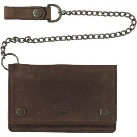brown leather Dickies wallet with chain and belt clasp.