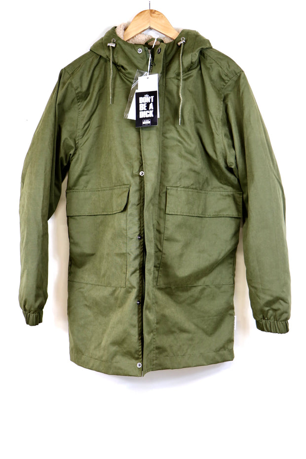Green Parker style long coat with Hood and deep pockets.