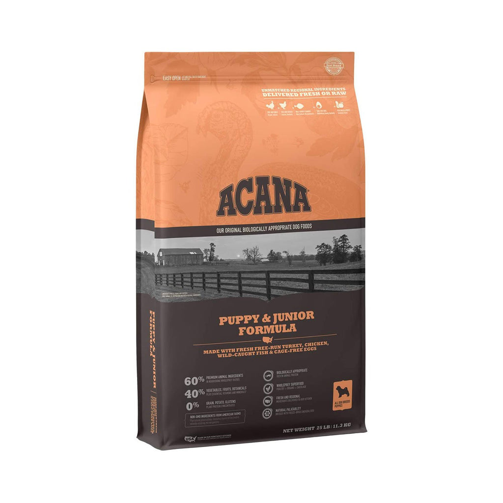 acana puppy & junior formula dog food bag