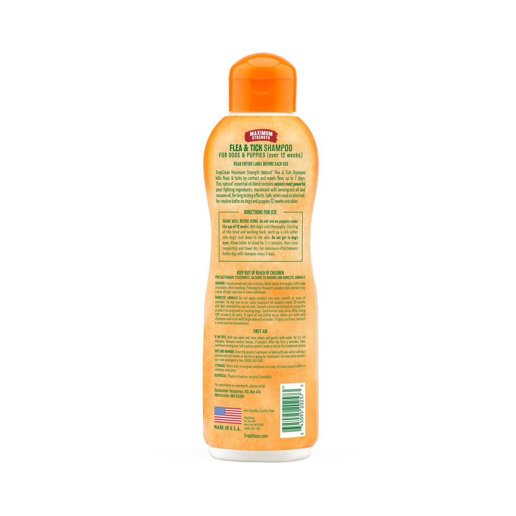 TropiClean Maximum Strength Flea And Tick Shampoo 20oz