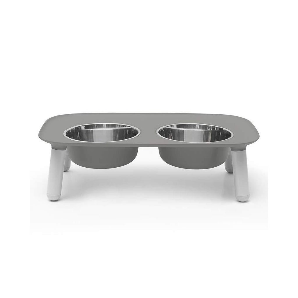 Messy Mutts Double Elevated Feeder Stainless Bowls Dark Grey