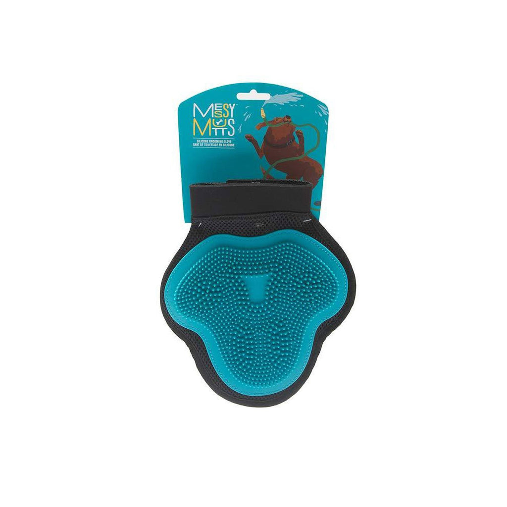 Messy Mutts Silicone Grooming Glove Blue