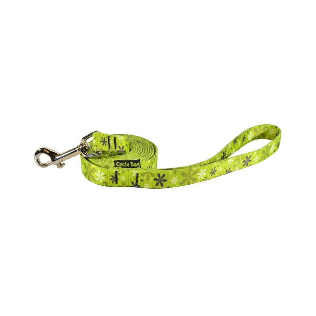 Cycle Dog Skinny Ecoweave Green Retro Flowers Leash 6ft