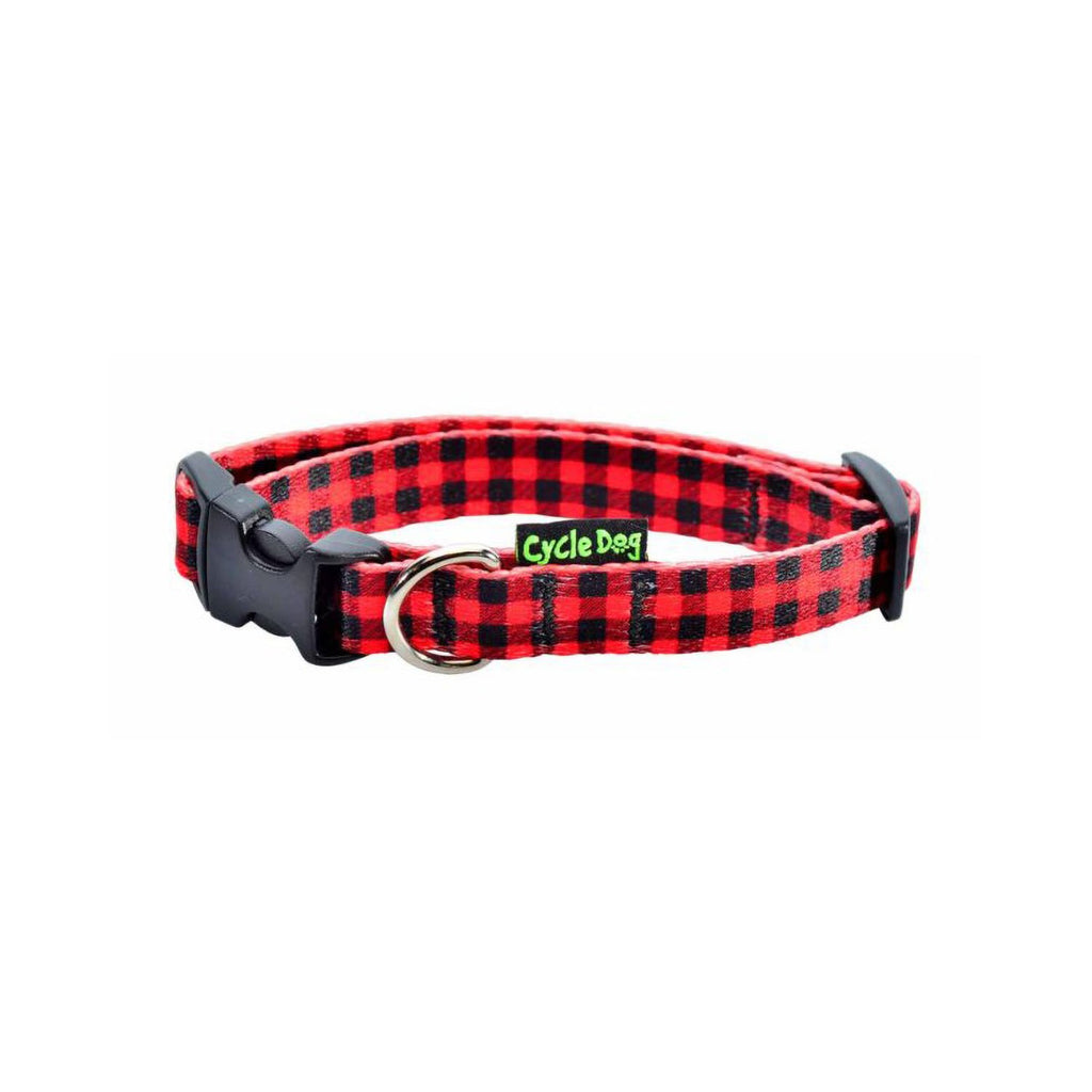 Cycle Dog Skinny Ecoweave Red Plaid Collar SM