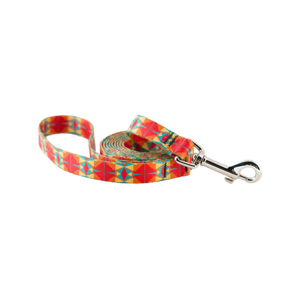 Cycle Dog Skinny Ecoweave Red Orange Kaleidoscope Leash 6ft