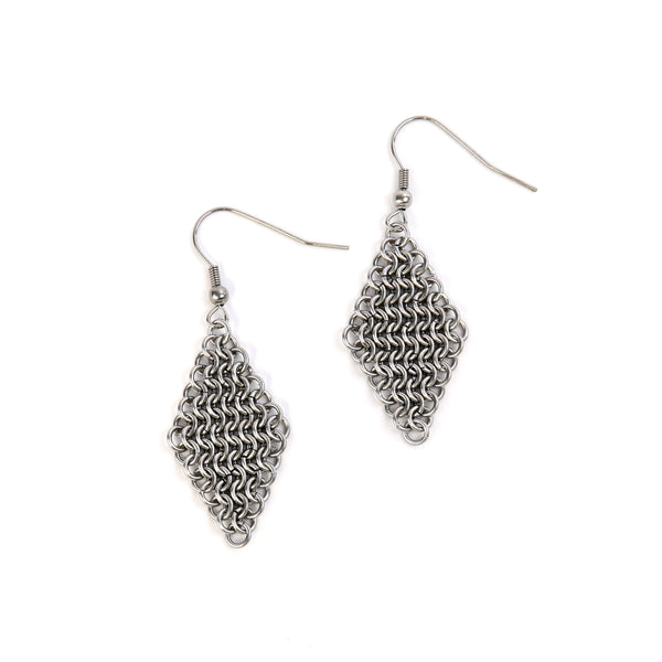 European chain mail drop earrings