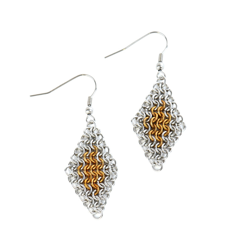 European chain mail gold duo drop earrings