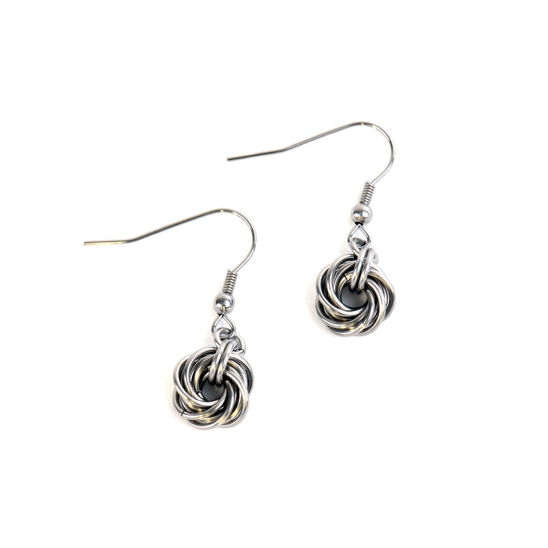 Mobius knot chain mail drop earrings