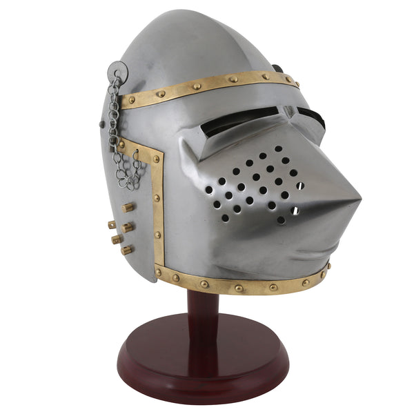 Pig-face bascinet replica helmet