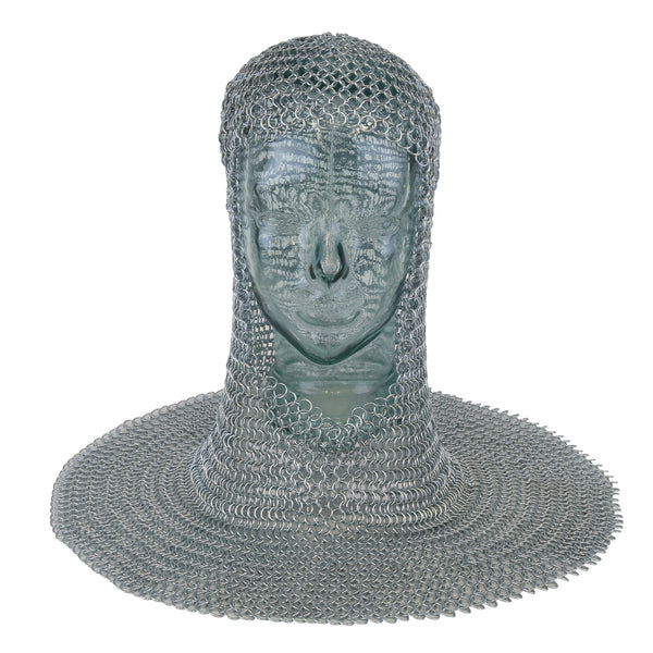 This mail armour was worn on the head to offer protection either with or without a helmet. A square face coif made of butted zinc plated steel, the mail is constructed of wire with the inner ring diameter at 8mm.
