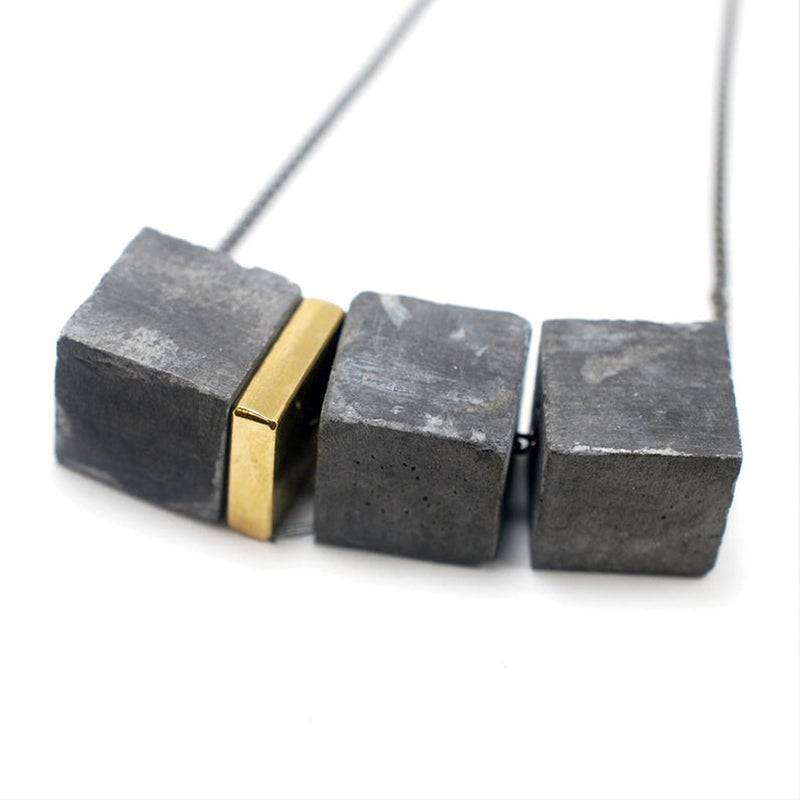 Small Trio Cube Concrete and Brass Fortress Necklace