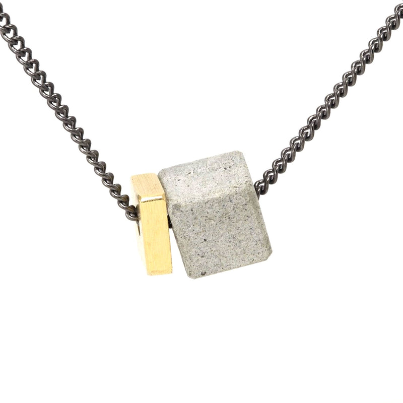 Small Concrete and Brass Fortress Necklace