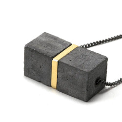 Large Two Cube Concrete and Brass Fortress Necklace