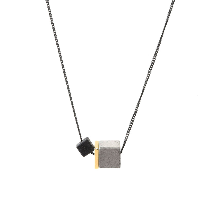Duo Cube Concrete and Brass Fortress Necklace