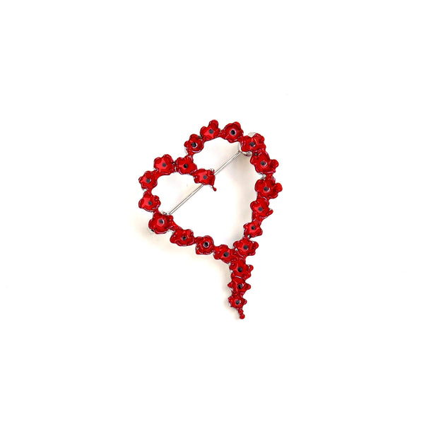 Poppy heart wreath brooch