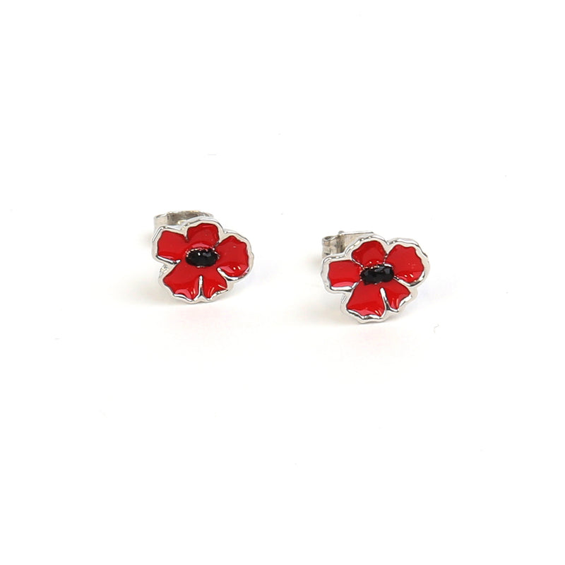 Enamel poppy stud earrings
