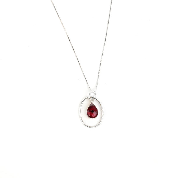 Teardrop Poppy Pendant Necklace