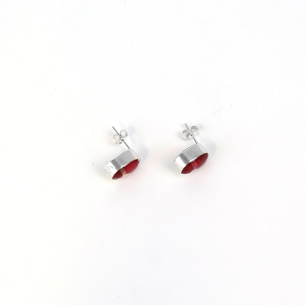 Oval Poppy Stud Earrings