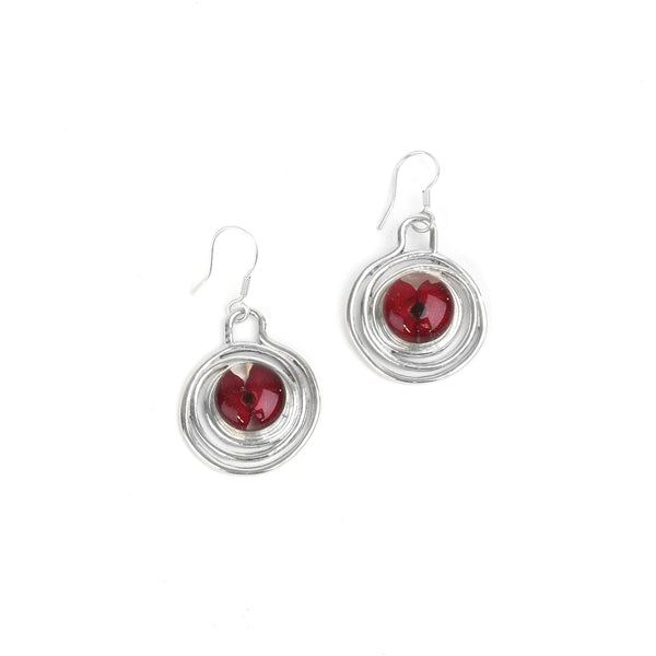 Spiral Poppy Drop Earrings