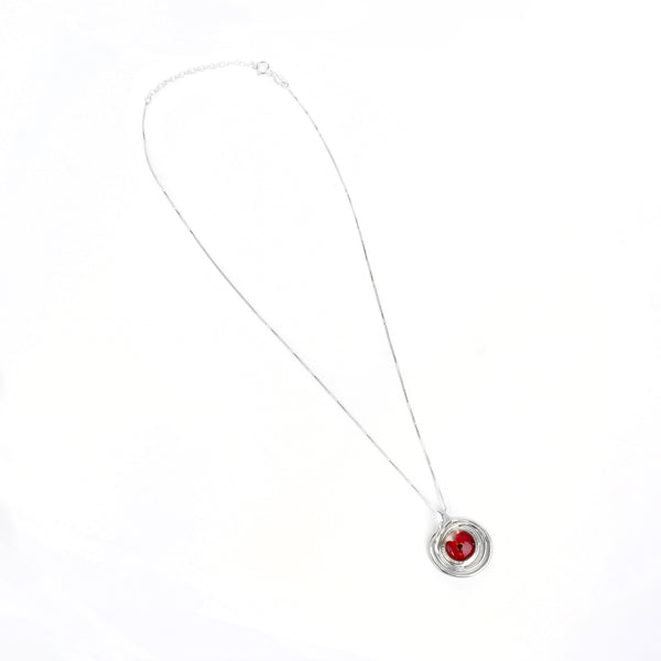 Spiral Poppy Pendant Necklace