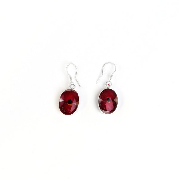 Oval poppy drop earrings