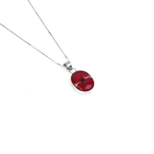 Oval poppy pendant necklace