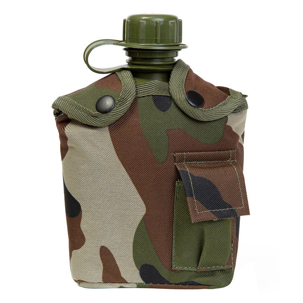 Children's camo water bottle in woodland DPM