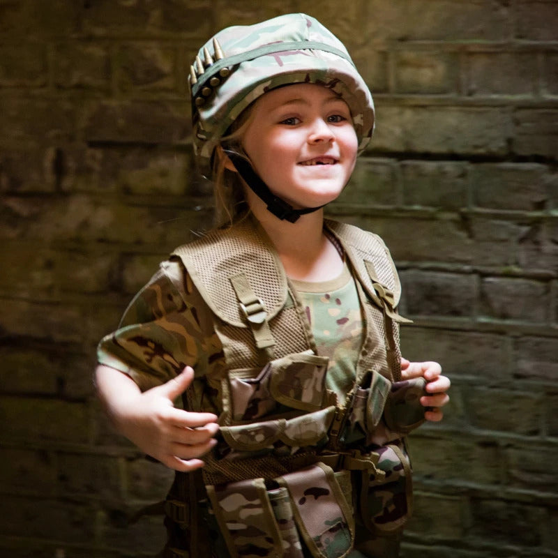 Children's camo assault vest in multi terrain DPM