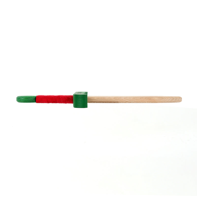 Wooden dagger with scabbard — green and red