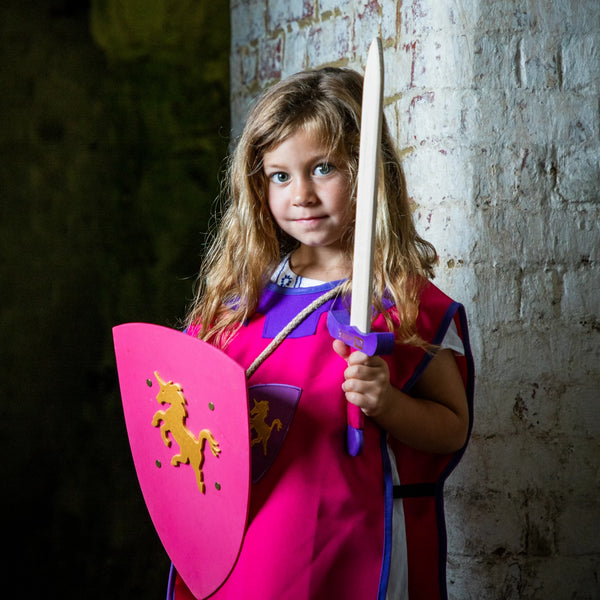 Children's medieval tabard — pink and purple