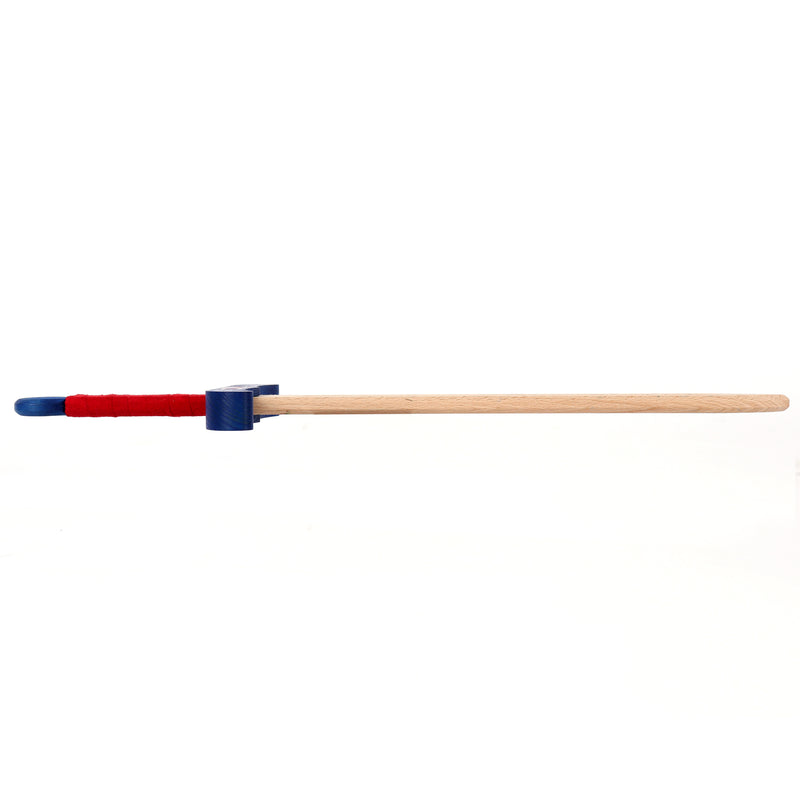 Colourful wooden sword with scabbard — blue and red