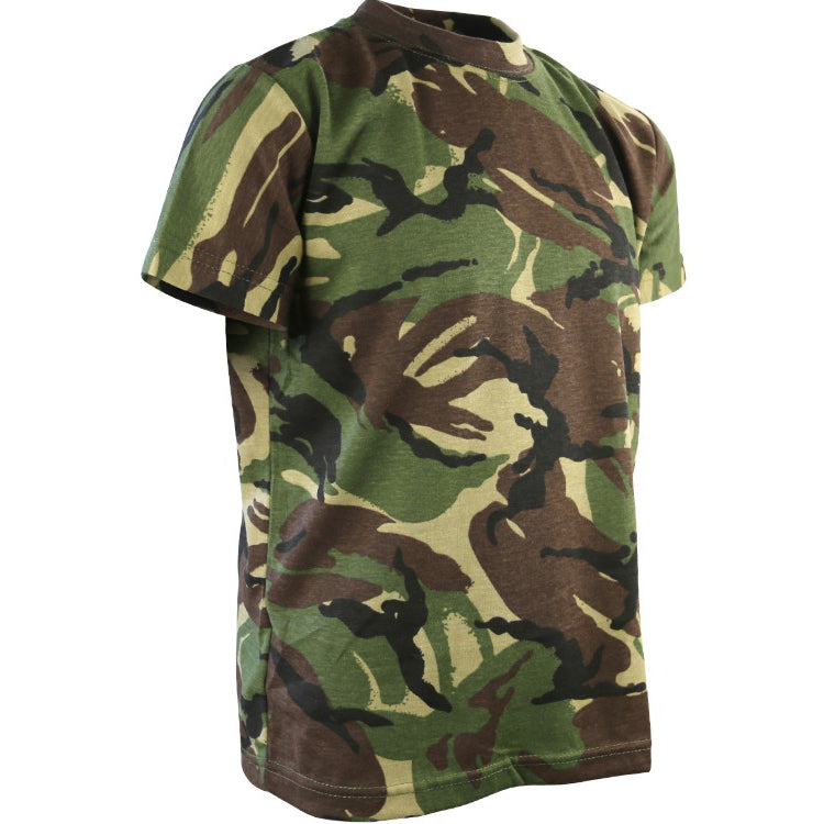 Children's camo T-shirt in woodland DPM