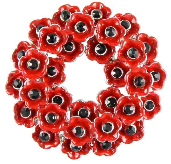 Poppy wreath enamel brooch