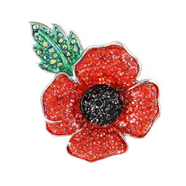 Large crystal poppy brooch with leaf