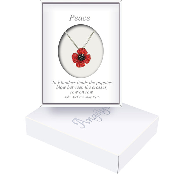 Small four petal poppy necklace