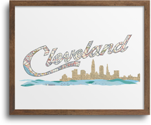 Load image into Gallery viewer, Cleveland Script Skyline Prints & Notecards