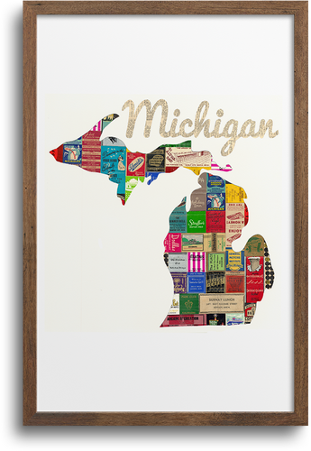 Michigan Map Prints & Notecards