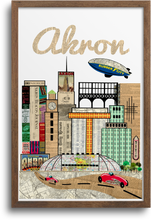 Load image into Gallery viewer, Akron, Ohio Skyline Print & Notecards