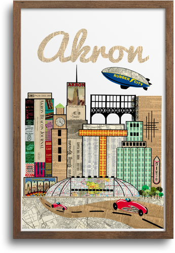 Akron, Ohio Skyline Print & Notecards