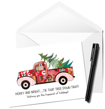Load image into Gallery viewer, Red Truck Happy Holidays Card