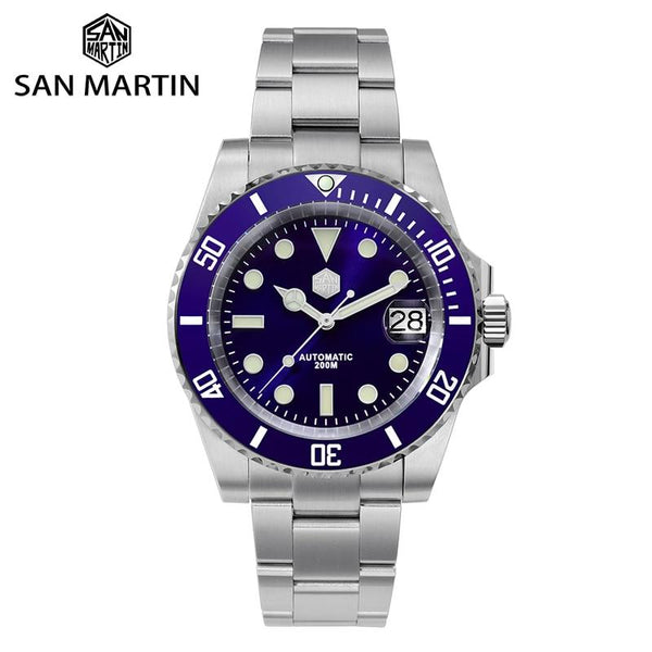 San Martin Diver Water Ghost Luxury Sapphire Crystal Men Automatic Mechanical Watches Ceramic Bezel 20Bar Luminous Date Window - Just Top 12