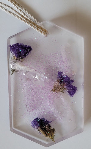 Suncatcher - purple flowers and crystals