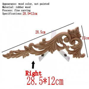 RUNBAZEF Floral Wood Carved Corner Applique Wooden Carving Decal  Furniture Cabinet Door Frame Wall Home Decoration Accessories