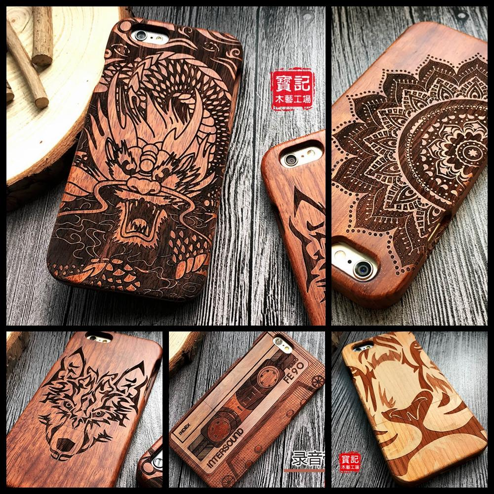 25 Design Tiger Dragon Luxury Wood Phone Case For Apple iPhone 5 5S SE 6 6plus 6S 7 8 Plus X XS Max XR Carving Wooden Case Cover